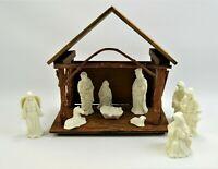 Christmas Nativity Scene 11pc White Porcelain Bisque Handmade Wood Manger
