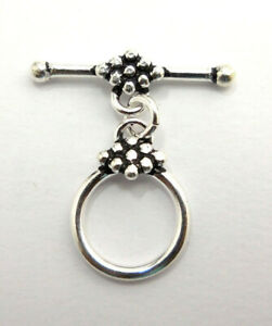 4 SET 15X25MM BALI TOGGLE CLASP ANTIQUE STERLING SILVER PLATED 572 MTT-118