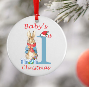 Baby's 1st First Christmas Peter or Flopsy Rabbit Round Ceramic Ornaments