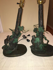 Vintage Cast Bronze Lamps with Frog Standing at Base of Tree 3 Way