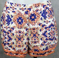 Dotti Women's Shorts Size 12 Orange White Blue Aztec Pattern Elastic Waist