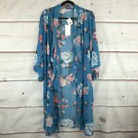 Estelle Plus Size 3/4 Sleeve Sheer Womens 1X Blue Peony Cascade Kimono Top NWT