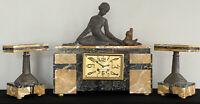 Art Deco French Figural Garniture Mantle Clock Antique Sculpture Marble Egyptian