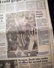 SAN FRANCISCO 49ERS Win NFL Football Super Bowl w/ Joe Montana 1985 Newspaper