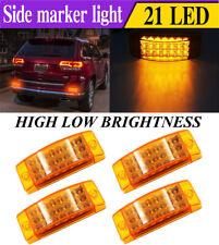 4x 21 LED  Amber  Side Marker Clearance Light Rectangle 12V Truck Trailer Camper