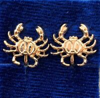 VINTAGE CANCER EARRINGS CRAB CLIP BACK GOLD TONE METAL ASTROLOGY JEWELRY NOS