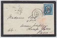 1867 France 20c blue Numeral 2795 Mourning Cover to Paris; Pau