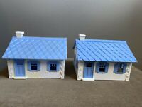 PLASTICVILLE USA CAPE COD HOUSES White w/ Blue Roof Lot of 2 HP-8 Train RR