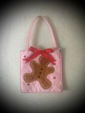 Pink/Red Christmas Gingerbread Man Bag w/ Sequins, Red Bow, Snowflakes!