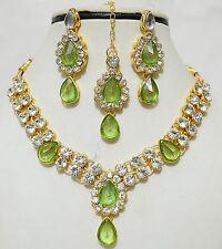 Designer Gold Plated Studded Diamond Kundan Necklace Earrings Tika Jewelry Set