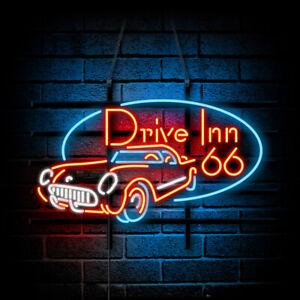 """24""""x20""""Drive Inn 66 Neon Sign Light Handcraft Gift Shop Wall Decor Advertising"""