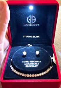 NWT💎Giani Bernini Zirconia Tennis Bracelet and Earing Sterling Silver Set