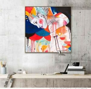 Hand painted chic bold Juliet Charlie acrylic artwork painting 100cm x 100cm