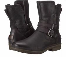 NEW! WOMENS UGG® BLACK SIMMENS LEATHER BOOTS ANKLE SIZE 6
