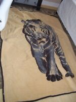 "80""x99"" GORGEOUS REVERSIBLE LARGE FLEECE BLANKET THROW TIGER BROWN BEIGE TAN"