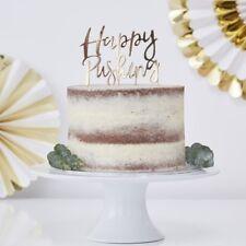 Oro frustrado feliz empujando Cake Topper-Baby Shower, fiesta decoración, vajillas