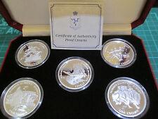 Isla De Man Sydney 1999 Juegos olímpicos de plata esterlina prueba Conjunto de 4 Monedas Caja/cert. de autenticidad