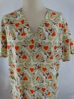 Expo Scrubs  Womens Scrub Top  Size X Large  -Multi Color Dog Pattern