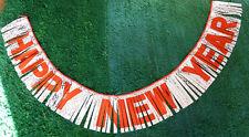 "Glorious 1970s Op Art HAPPY NEW YEAR Garland 6' x 8"""
