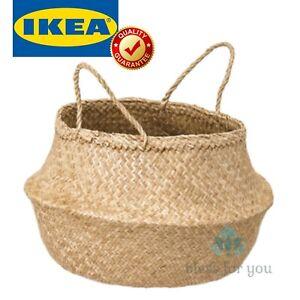 IKEA FLADIS Storage Seagrass Basket with Handles Handmade
