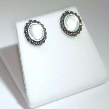 Sterling Silver 925 Marcasite Mother Of Pearl Earrings