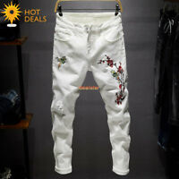 Men's Spring White Embroidery Stretch Denim Pants Ripped Slim Taper Fit Jeans