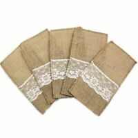 "Vintage 4""x8"" Hessian Burlap Lace Knifes Forks Bag Wedding Tableware Pouch Cutle"