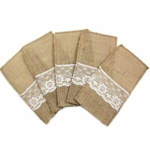 "Vintage 4""x8"" Hessian Burlap Lace Knifes Forks Bag Wedding Tableware Pouch Cutle"