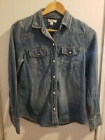 J. Crew Western Denim Shirt Size 2 Pearl Snap Button Up Shirt Distressed Faded