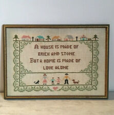 Vintage Home-Love Quote Cross Stitch Framed Picture 16 X 11�