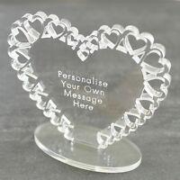 Personalised Heart Message Ornament Keepsake Birthday Anniversary Wedding Gift