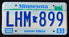 """MINNESOTA """" 10.000 LAKES LHM 889 """" 1983 MN Vintage Classic Graphic License Plate"""