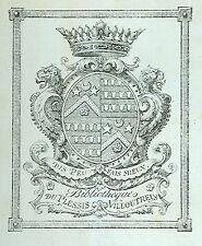 EX-LIBRIS DE VILLOUTREYS DE BRIGNAC. Anjou-Maine.