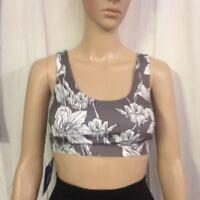 JoyLab Women's Floral Print Comfort Sports Bra - Gray/White - Size:XS