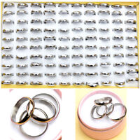 12/24/36Pcs Wholesale Jewellery Lot Unisex Stainless Steel Silver Band Rings