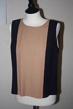 J. Crew Colorblock Sleeveless Top Navy Tan 100% Wool Crepe Size 10 Lined Shirt