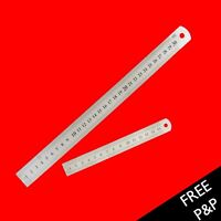 """12"""" 30cm 300mm, 6"""" 15cm 150mm Stainless Steel Ruler Metal Rule Metric Imperial"""