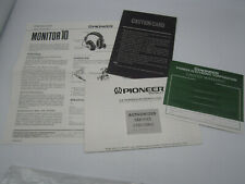 Pioneer Monitor 10 Original Operating Guide Warranty Card etc