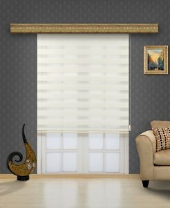 Horizontal Window Shade Curtains, Dual-Roller Zebra Blinds, Easy to Install