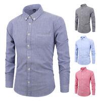 Mens Long Sleeves Dress Shirts Casual Slim Fit Business Multicolor Strips EK6511