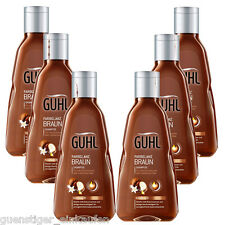 ( 21,09€/ L) 6x 250ml Guhl Color Brillo Marrón Champú kukuinuss ACEITE