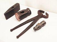 Vtg ball peen sledge straight peen hammer head tong lot blacksmith metalworking