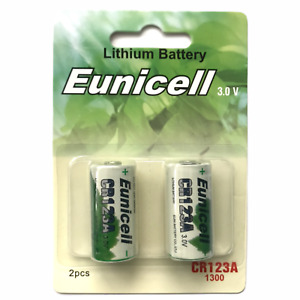 2 x CR123A Batteries 123 CR123 DL123A 3V Lithium Camera Photo Eunicell Battery