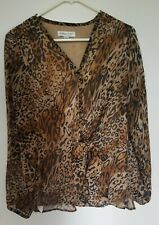 Coldwater Creek LEOPARD Print Blouse Shirt Long Sleeve Brown Small