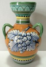 Vintage Italy Italian Art Pottery 3 Handle Vase Fruit Leaves For Gimbel Bros