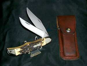 Schrade 227UH Knife Uncle Henry USA Made Folding Bowie #76789 W/Original Sheath