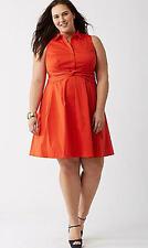 NWT Lela Rose Lane Bryant Red Cotton Dress Sleeveless Fit Flare 24W 3X $119 New