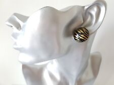 1 pair of black & gold round resin CLIP-ON button style stud earrings retro 24mm