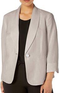 Kasper Women's Blazer Soft Gray Size 20W Plus Shawl Collar 1 Button $129 #631