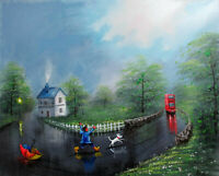 100%Hand-painted Art Oil Painting Countryside Figure kids 16*20inch  Decoration